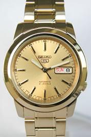 セイコー SEIKO 5(セイコー ファイブ)スタンダード メンズ 自動巻き ゴールド SNKE56J1