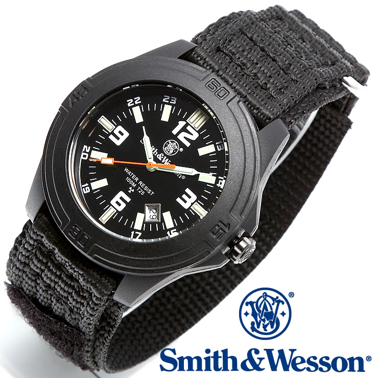 [送料無料] [正規品] スミス&ウェッソン Smith & Wesson ミリタリー腕時計 SOLDIER WATCH NYLON STRAP BLACK SWW-12T-N
