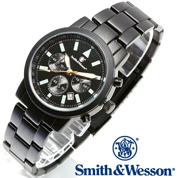 [送料無料] [正規品] スミス&ウェッソン Smith & Wesson クロノグラフ ミリタリー腕時計 PILOT WATCH CHRONOGRAPH BLACK SWW-169
