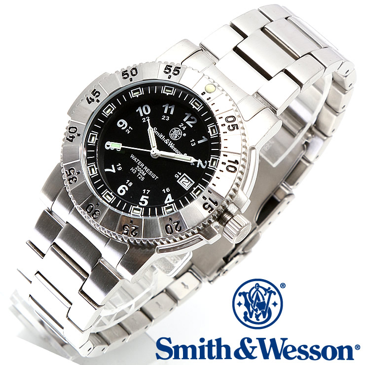 [送料無料] [正規品] スミス&ウェッソン Smith & Wesson スイス トリチウム ミリタリー腕時計 SWISS TRITIUM 357 SERIES AVIATOR WATCH SILVER SWW-357-SS