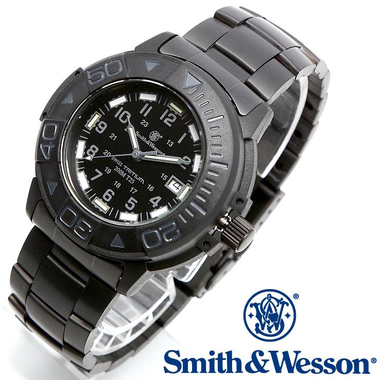 [送料無料] [正規品] スミス&ウェッソン Smith & Wesson スイス トリチウム ミリタリー腕時計 SWISS TRITIUM DIVER WATCH BLACK/BLACK SWW-900-BLK