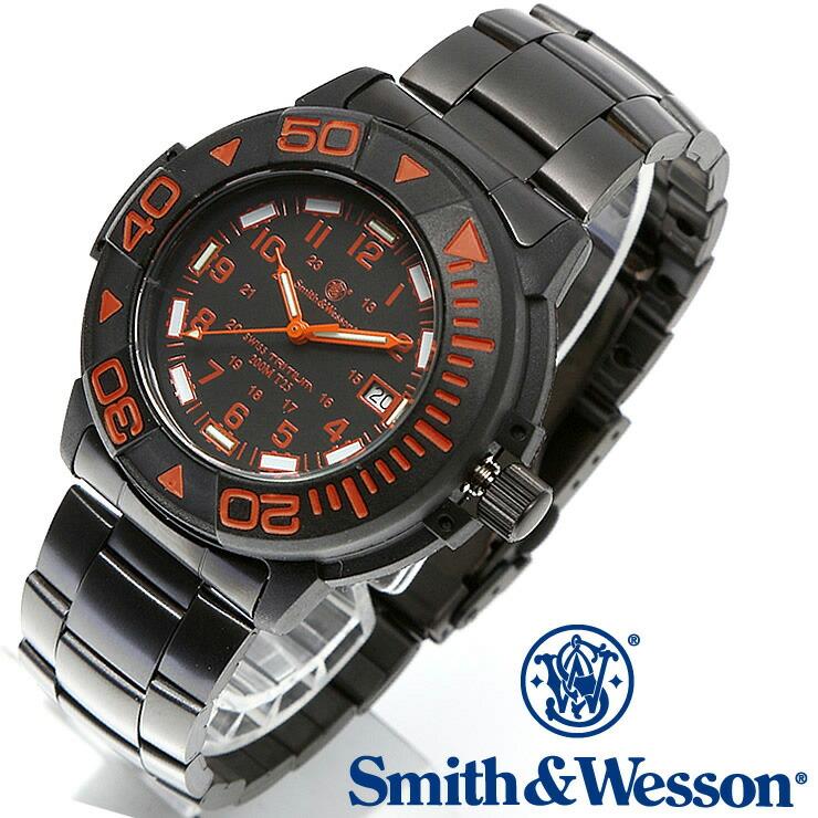 [送料無料] [正規品] スミス&ウェッソン Smith & Wesson スイス トリチウム ミリタリー腕時計 SWISS TRITIUM DIVER WATCH BLACK/ORANGE SWW-900-OR