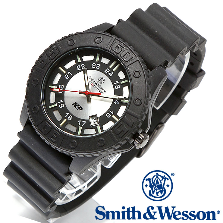 [送料無料] [正規品] スミス&ウェッソン Smith & Wesson スイス トリチウム ミリタリー腕時計 SWISS TRITIUM M&P WATCH BLACK/SILVER SWW-MP18-GRY