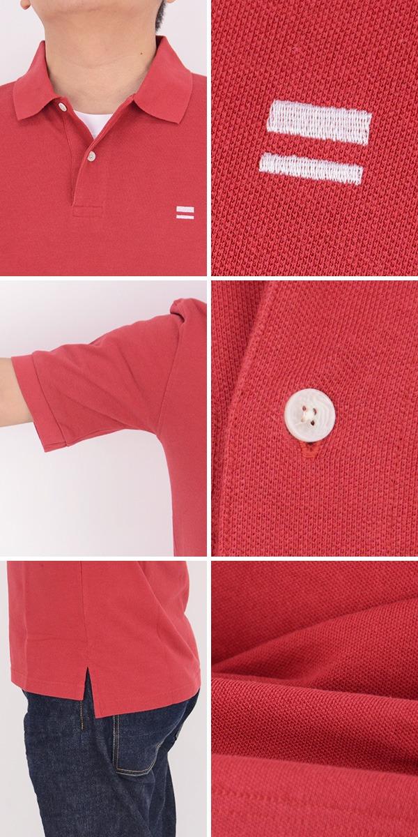 桃太郎ジーンズ モモタロウジーンズ MOMOTARO JEANS 07-027[a6s]出陣ライン刺繍入り ジンバブエコットン天竺 鹿の子 ポロシャツ 半袖 の画像  5