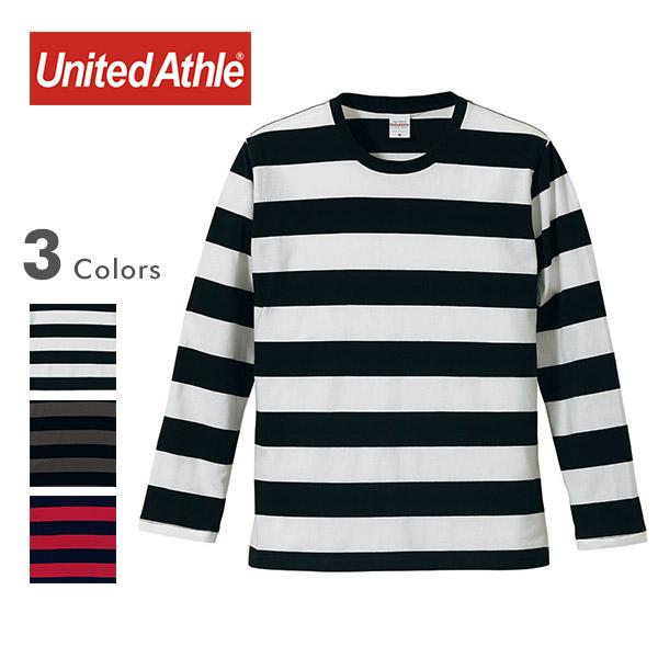 United Athle ユナイテッドアスレ 5019-01[r7w]5オンス ハイクオリティー ボールドボーダーTシャツ 長袖 の画像1
