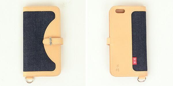 革蛸謹製 × SKULL JEANS[a5]iPhone6plus スマホケース イタリアンレザー スカルジーンズ 赤タブ の画像6