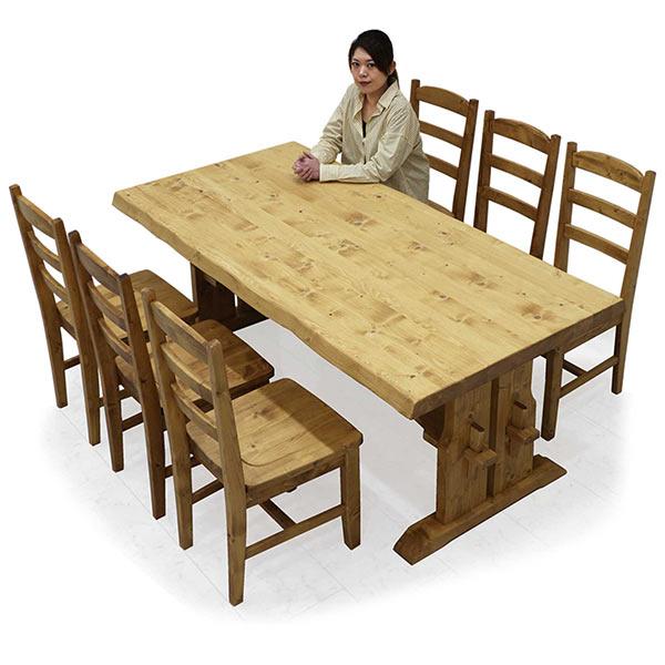 ダイニングテーブルセット 北欧 幅180 ダイニングチェア6脚 食卓セット 和モダン 一枚板風 高級感 おしゃれ パイン無垢材 ウッド 7点 ダイニング テーブルセット リビング家具 食卓 6脚セット  送料無料