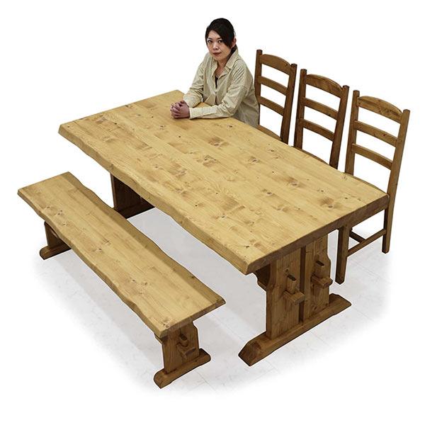 ダイニングテーブルセット 北欧 幅180 ダイニングチェア3脚 食卓セット ダイニングベンチ 和モダン 一枚板風 高級感 おしゃれ パイン無垢材 ウッド 5点 ダイニング テーブルセット リビング家具 食卓 ベンチ  送料無料