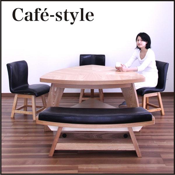 数量限定 ダイニングセット ダイニングテーブルセット 食卓テーブル 5点セット 5人掛け ナチュラル ベンチ付き 三角テーブル 回転椅子 レトロ モダン おしゃれ 木製 オーク 無垢 送料無料