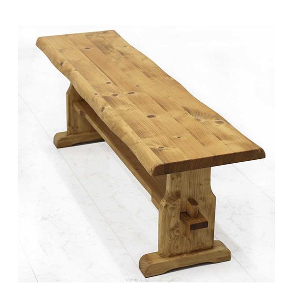 ベンチ 椅子 木製 2人掛け 幅125 ダイニングベンチ ナチュラル色 パイン無垢材 天然木 北欧 木の椅子 リビング椅子 リビングベンチ ダイニング 一枚板風 ナグリ加工 楔 和モダンテイスト ベンチ  送料無料