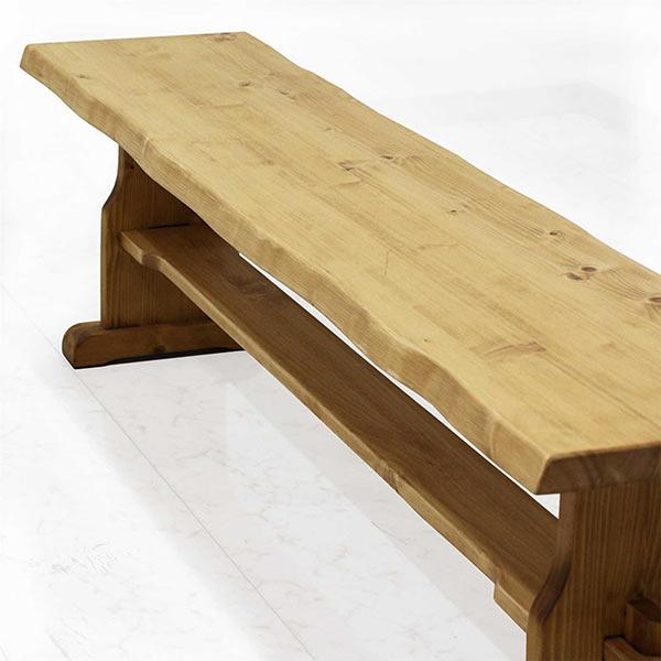 ベンチ 椅子 木製 2人掛け 3人掛け 幅155 ダイニングベンチ ナチュラル色 パイン無垢材 天然木 北欧 木の椅子 リビング椅子 リビングベンチ ダイニング 一枚板風 ナグリ加工 楔 和モダンテイスト ベンチ  送料無料