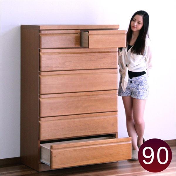 チェスト タンス ハイチェスト 幅90cm 6段 木製 桐材 無垢 完成品 日本製 大川家具 送料無料