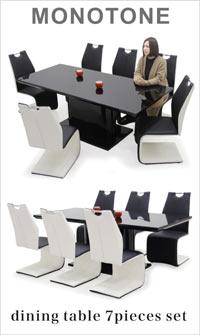 モノトーン ガラステーブル ダイニングセット 7点 6人掛け ダイニングテーブルセット ブラック ホワイト