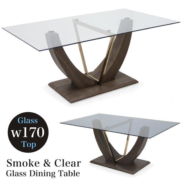 ガラステーブル ガラス ダイニングテーブル 170幅 クリアガラス スモークガラス 選べる2色 強化ガラス テーブル 170×100 おしゃれ モダン デザイン 長方形