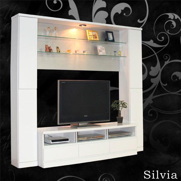 テレビ台 TV台 TVボード テレビボード ハイタイプ 幅190cm 高さ180cm 収納機能付き 鏡面 ホワイト 壁面収納 ダウンライト付き 送料無料  通販