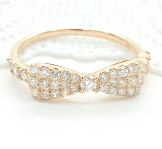 K18ピンクゴールド ダイヤモンド リボンモチーフリング