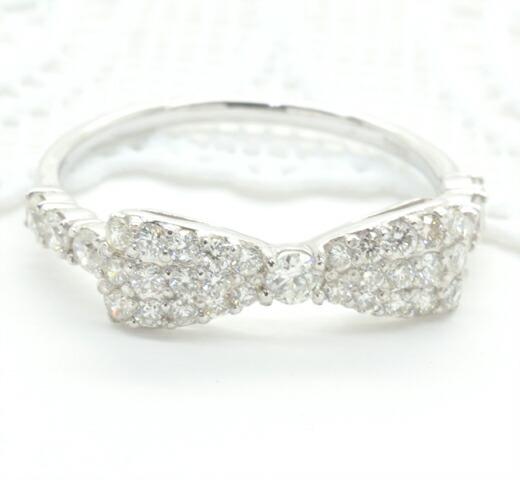 K18ホワイトゴールド ダイヤモンド リボンモチーフリング