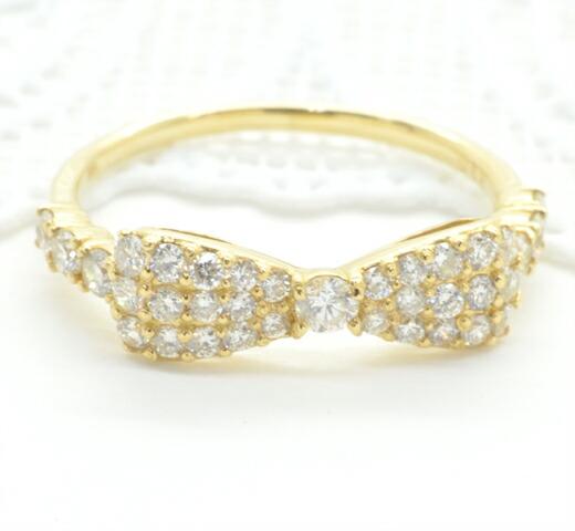 K18イエローゴールド ダイヤモンド リボンモチーフリング
