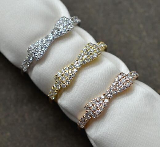 K18イエローゴールド【0.3ct】ダイヤモンド リボンリング