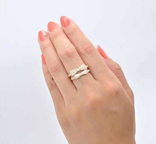K18イエローゴールド【0.3ct】ダイヤモンド リボンモチーフリング