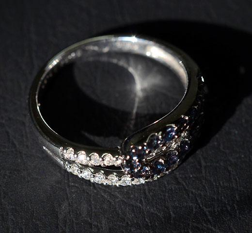 【限定 1点もの】 K18WG アレキサンドライト ダイヤモンド リング