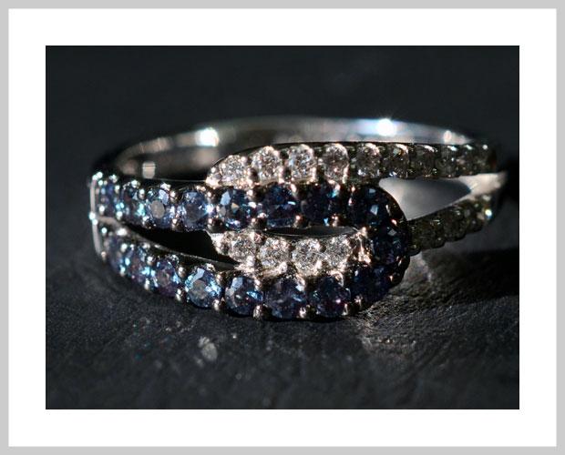 K18ホワイトゴールド アレキサンドライト ダイヤモンド リング