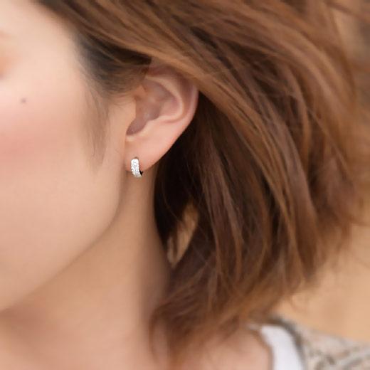 ダイヤモンド パヴェ フープピアス[0.2ct] K18WG