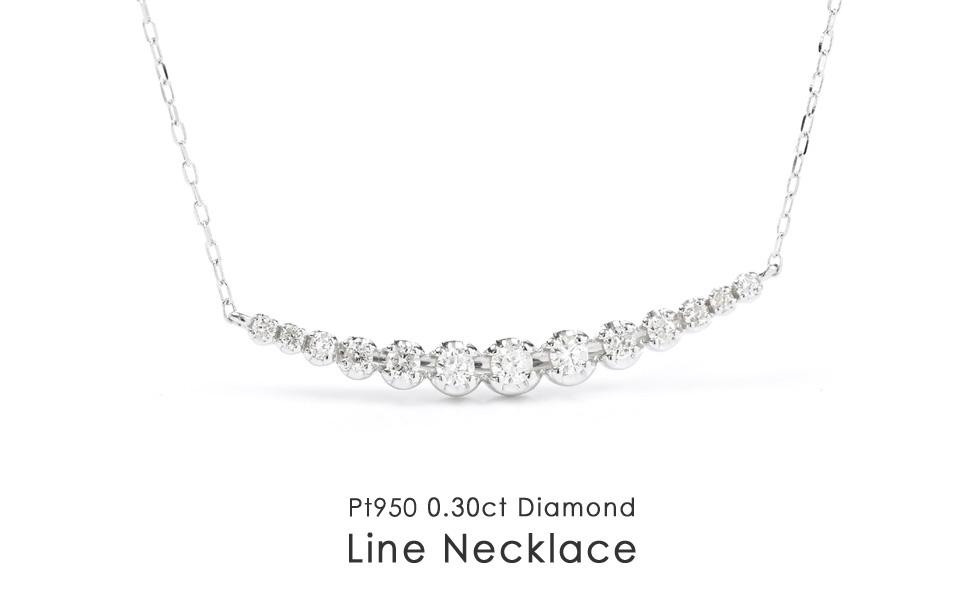 pt900 ダイヤモンド ラインネックレス ペンダント