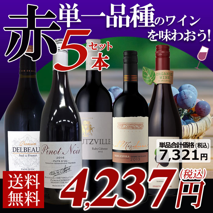 黒ブドウ単一品種のワインを味わおう! 赤ワイン5本セット C