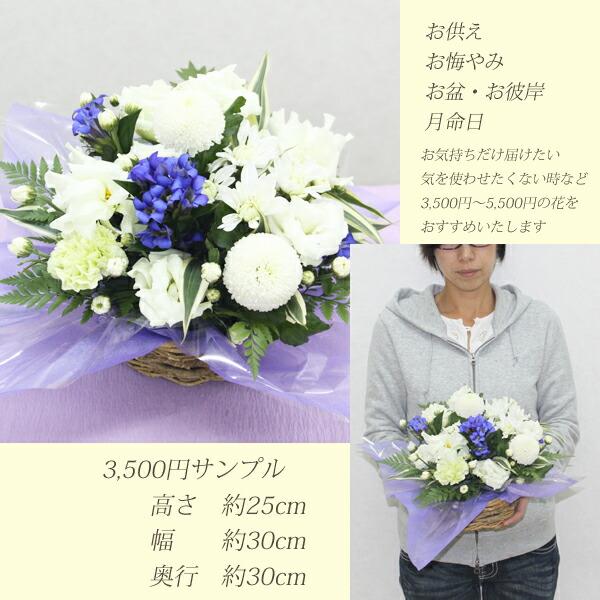 「お供え アレンジ 大きさ 3500円」