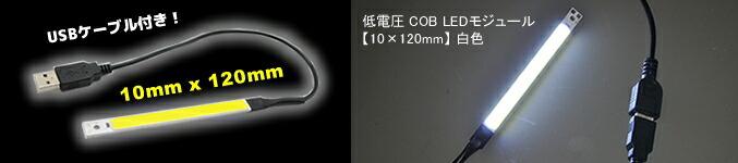 低電圧 COB LEDモジュール 【10×120mm】 白色 USBケーブル付き