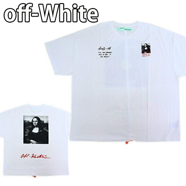 オフホワイト Off-White メンズ トップス クルーネック Tシャツ モナリザ デザイン プリント ホワイト×ブラック OMAA066S191850050110 MONNALISA SUPER MEGA OVER TEE
