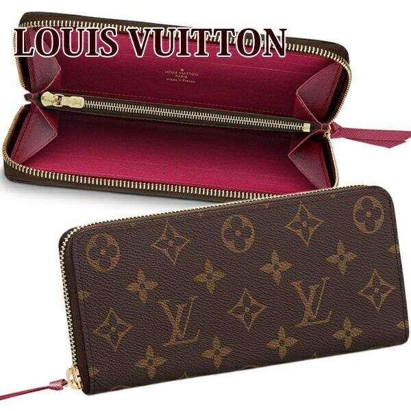 ルイヴィトン Louis Vuitton 財布 長財布 レディース ラウンドファスナー ポルトフォイユ・クレマンス モノグラム/フューシャ M60742