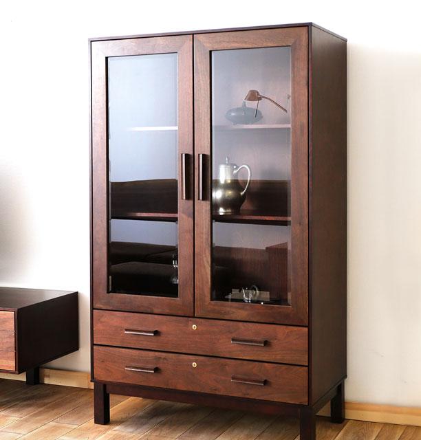 Small Glass Front Cabinet: Wood Gallery ITSUKI: Decorative Cabinet Shelf Shelf