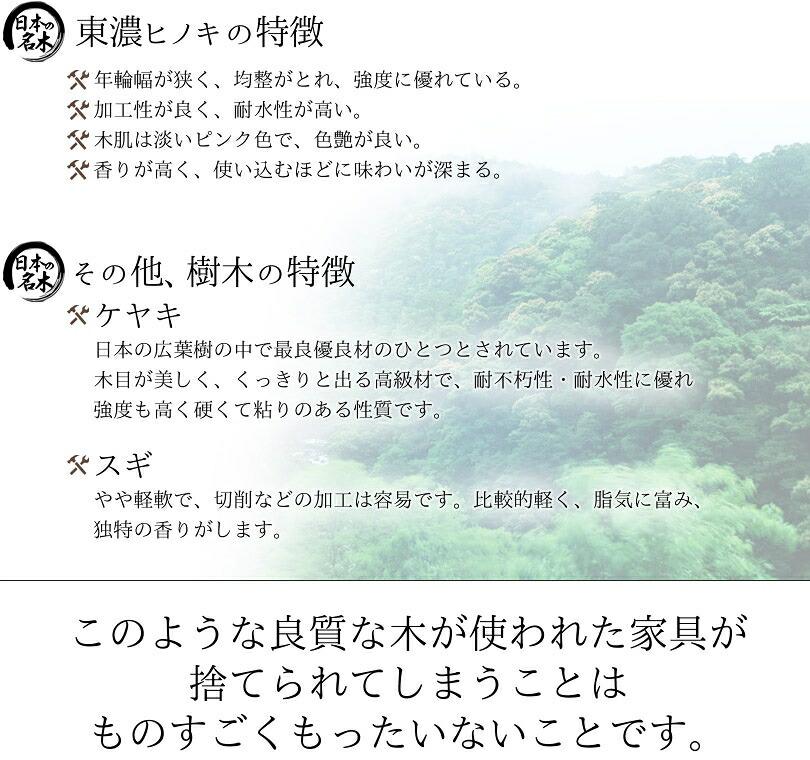 東濃ヒノキ/ケヤキ/スギの特徴