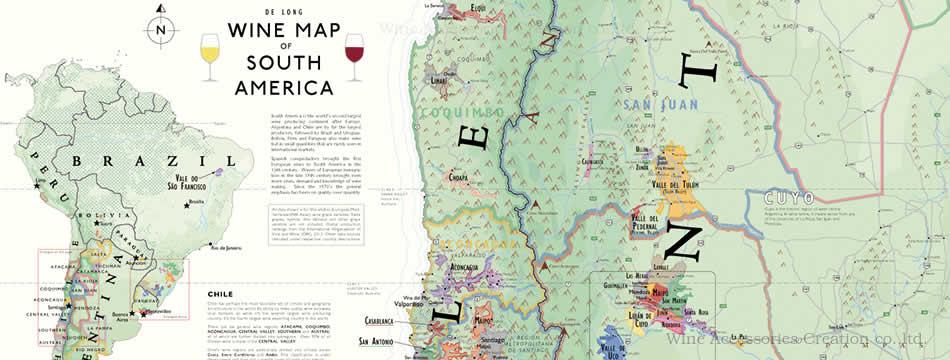楽天市場 de long 南アメリカ ワインマップ wine map of south