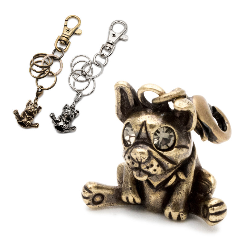 French Bulldog Fawn Dog Tiny One Resin Keychain Key Chain Ring