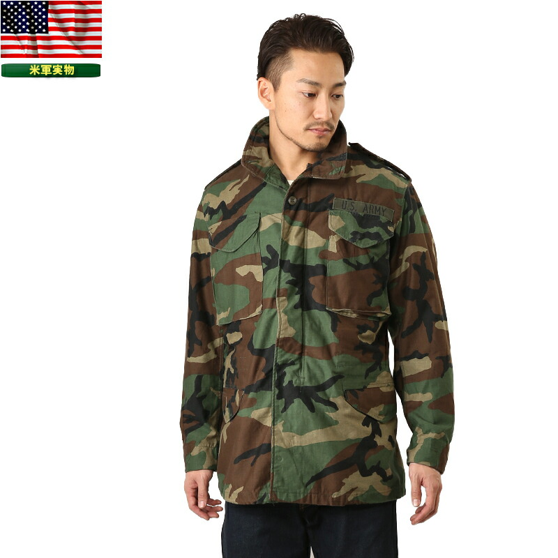 9d80577b6eb Real surplus U.S. G. I. M-65 field jacket WOODLAND woodland USED men s  military outer military jacket M65 M-65 field jacket camouflage camouflage  USA ...