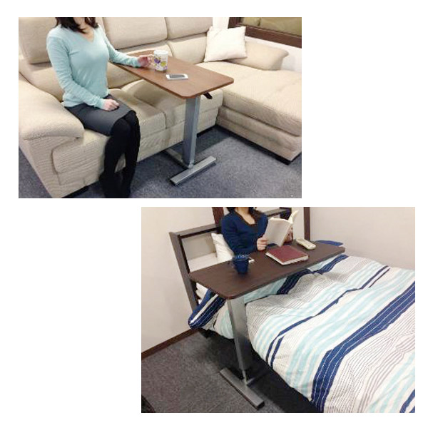 昇降テーブル テーブル 昇降サイドテーブル ガス圧 幅80cm 高さ調整可能 キャスター付き 送料無料