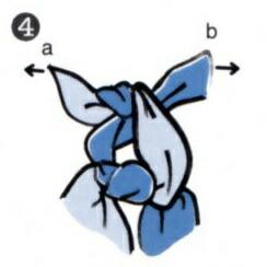風呂敷(ふろしき)の結び方・・・aとbを均等に引っ張ります。