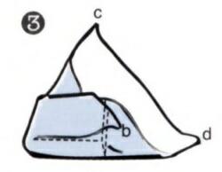 風呂敷(ふろしき)の包み方・・・bの先端を持ち、箱の角に添わせて上にかぶせます。