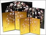 蒔絵屏風/しだれ桜