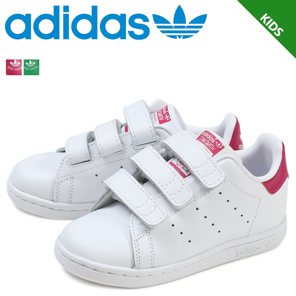huge discount 57462 eee62 Details about Adidas Originals Stan Smith Sneakers Kids B32704 White/Bold  Pink