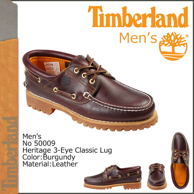 50009 Mens Boat Shoes Timberland Heritage 3 Eye Classic Lug