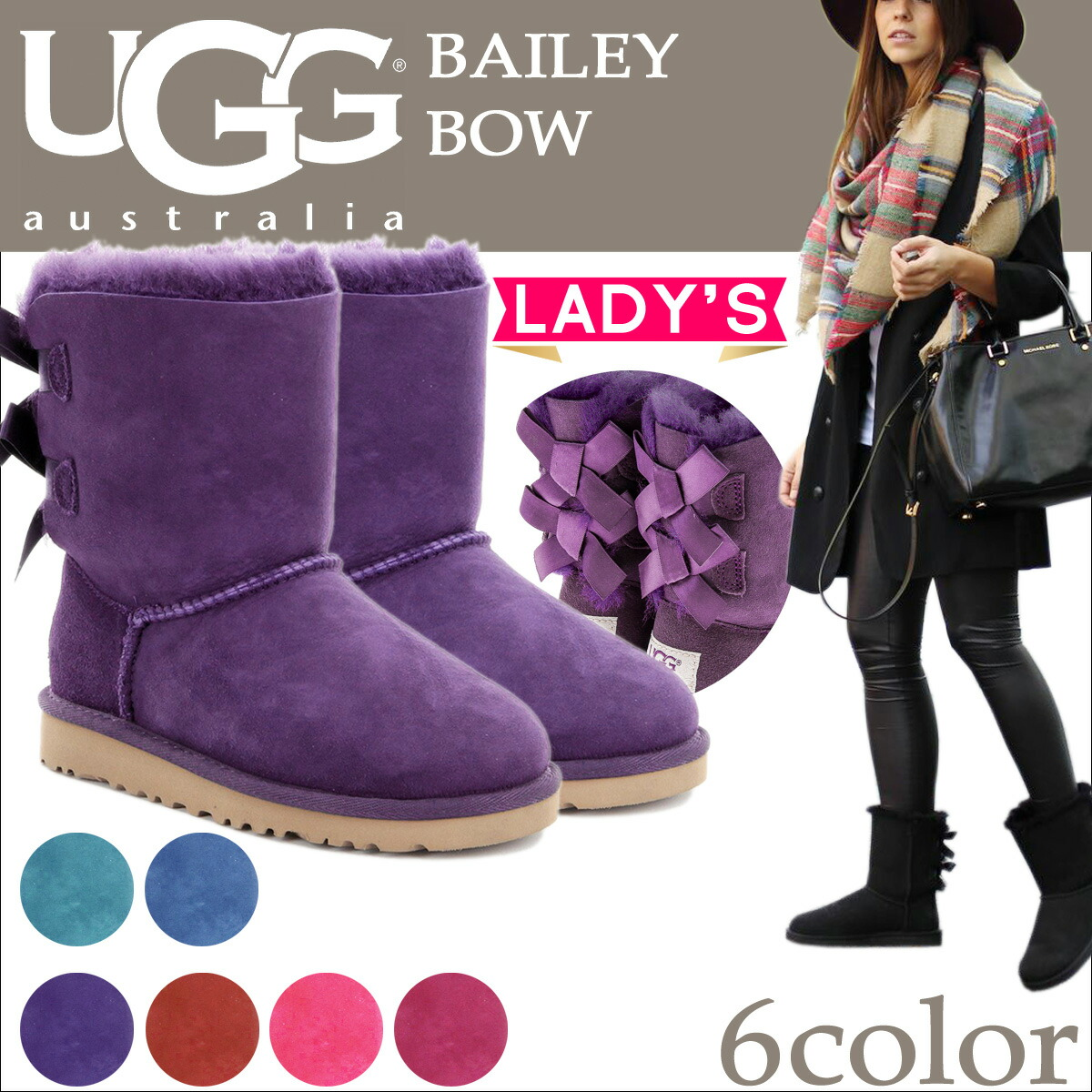 956baea90b1 UGG UGG Bailey bow boots WOMENS BAILEY BOW 1002954 ladies