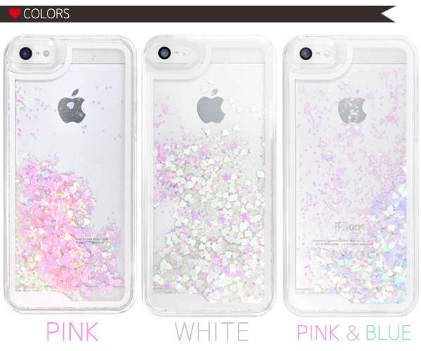 ラメ iPhone5 iPhone5s キラキラiPhoneケース 動く 流れるハートケース アイフォン5s スマホケース パステル ラメ キラキラ グリッター ピンク ホワイト ブルー スマホ カバー 液体入り スノードーム スパンコール おしゃれ かわいい 人気