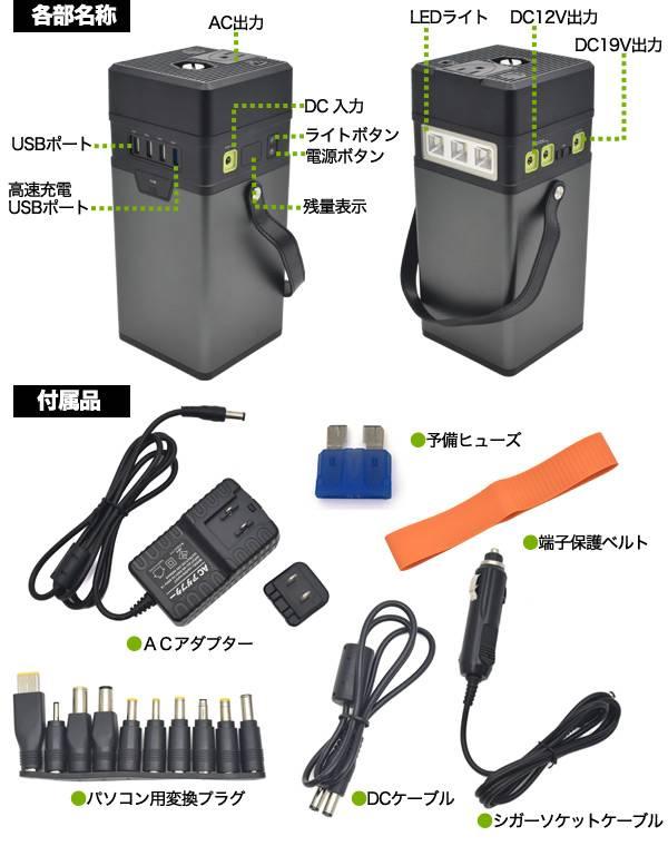 超大容量100,000mAh AC/DC/USB出力 モバイルバッテリー 充電器 USB4ポート 急速充電 スマートフォン 防災グッズ タブレット用 スマホ ノートPC対応外付けバッテリー アウトドア