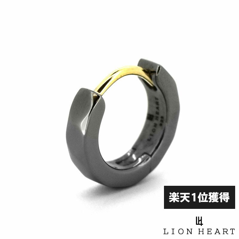 ライオンハート LION HEART カッティング フープピアス シルバー925 ブラック