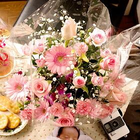 ピンクローズ (バラと旬のお花のピンクカラーアレンジメント)