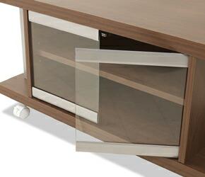 コーナーテレビボード プッシュ式のガラス扉